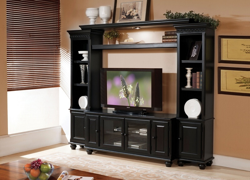 Acme 91100-03 4 pc ferla black finish wood slim profile entertainment center wall unit