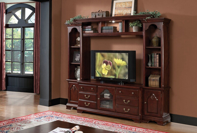 Acme 91110-13 4 pc Canora grey shankle hercules cherry finish wood slim profile entertainment center wall unit