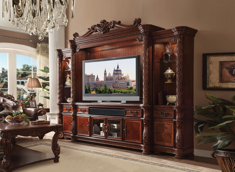 Acme 91315-18 4 pc vendome ii cherry finish wood entertainment center wall unit