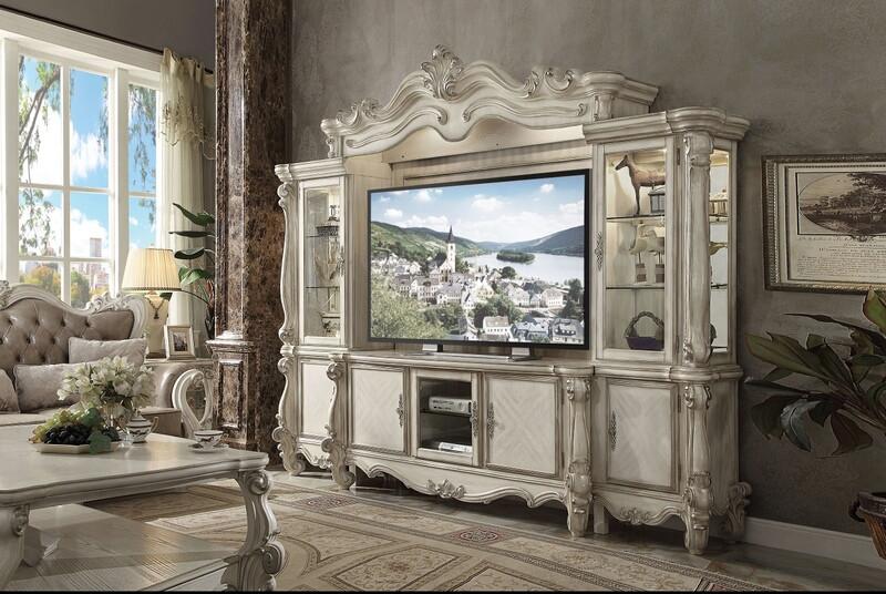Acme 91320-24 4 pc Astoria grand versailles bone white finish wood entertainment center wall unit