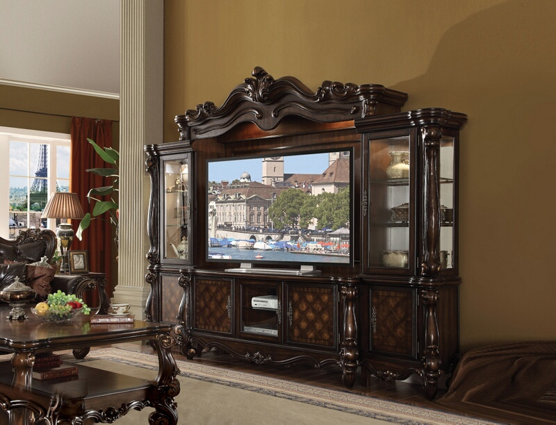 Acme 91325-29 4 pc Astoria grand welton versailles cherry oak finish wood entertainment center wall unit