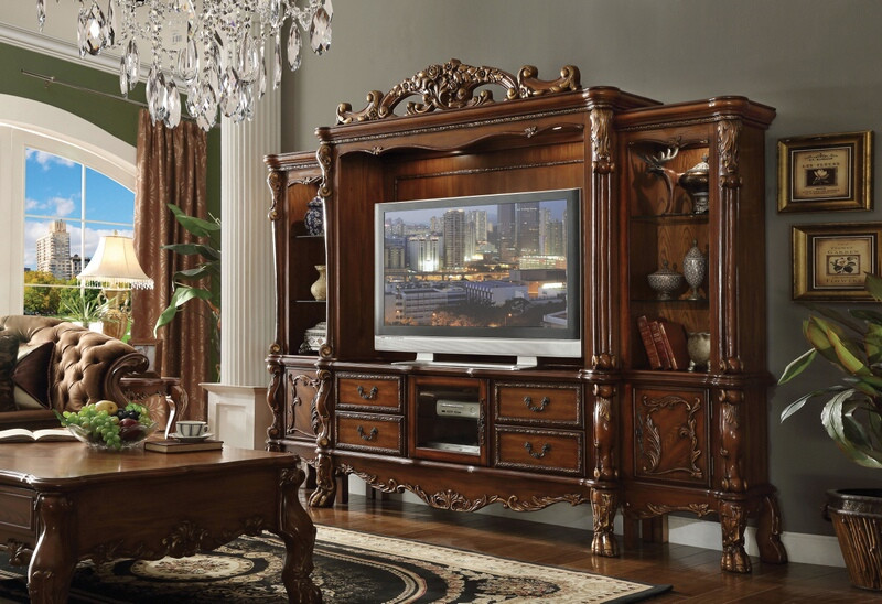 Acme 91335-38 4 pc Astoria grand welliver dresden cherry oak finish wood entertainment center wall unit