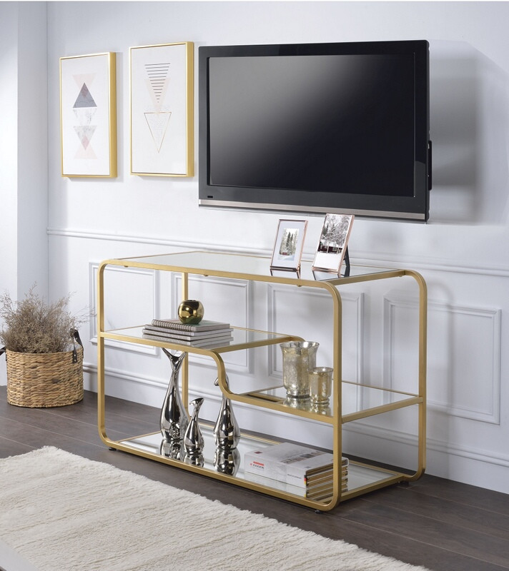 Acme 91395 Everly quinn abdiel sstrid gold finish metal frame glass sofa entry console table TV stand