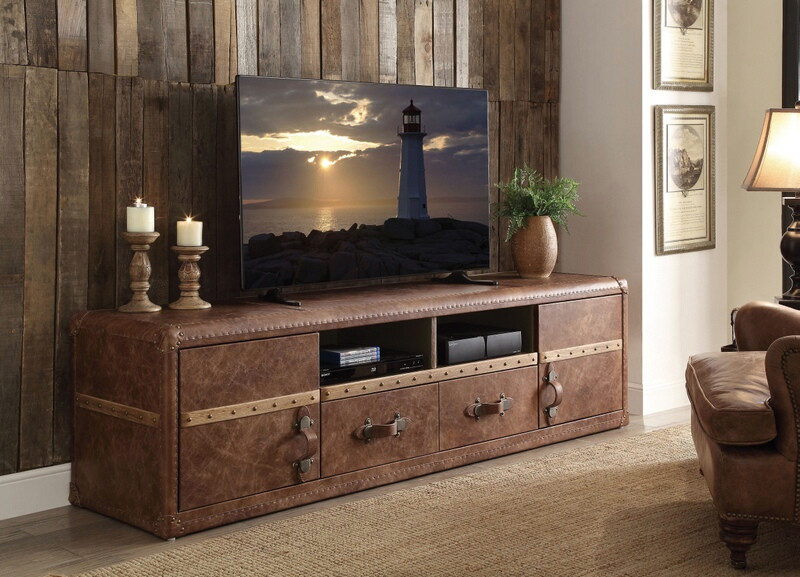 "Acme 91500 Williston forge jepsen aberdeen retro brown top grain leather luggage chest look 80"" TV stand"
