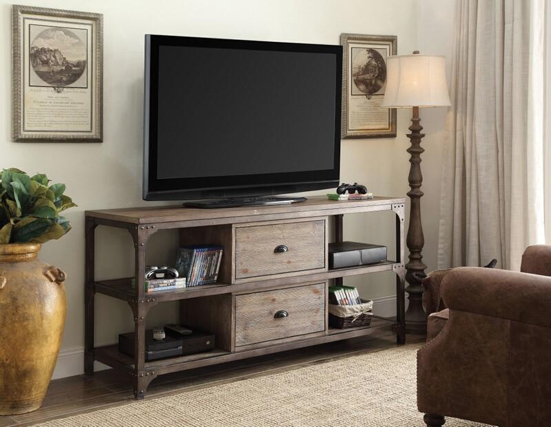 "Acme 91504 Williston forge sandler gorden weathered oak finish wood antique silver 60"" TV stand"