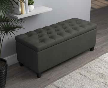 915143 Alcott hill kenyon charcoal fabric tufted top storage bedroom ottoman bench