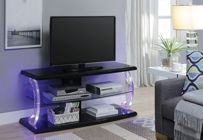 """Acme 91556 Latitude run veale aIleen black finish wood and acrylic 48"""" tv console media stand"""