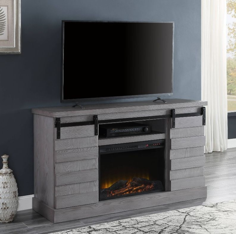 Acme 91616-91617FIR Amrita grand serena grey oak finish wood farmhouse style tv stand with barn door style doors and fireplace insert