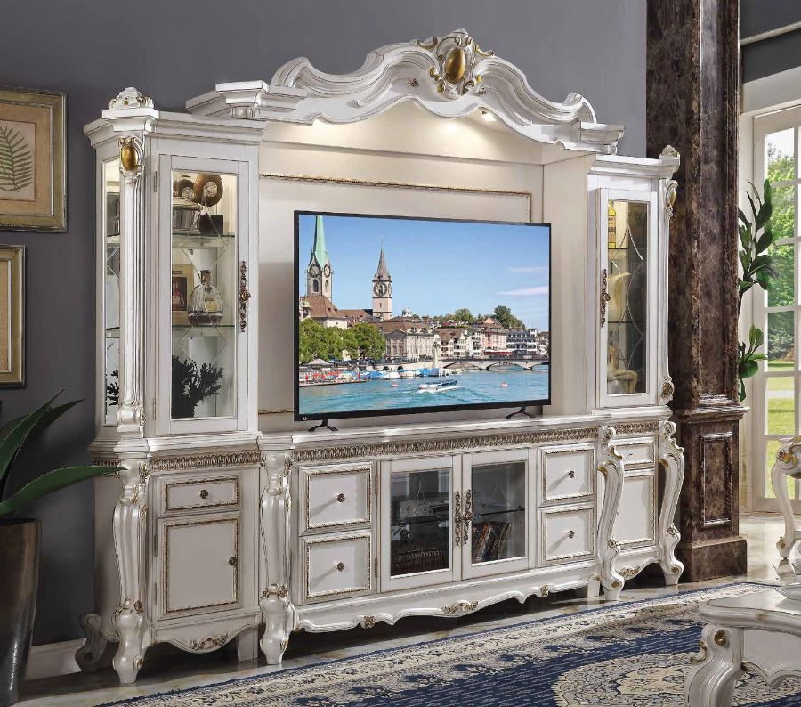 Acme 91815 4 pc Astoria grand roza picardy antique pearl finish wood entertainment center wall unit