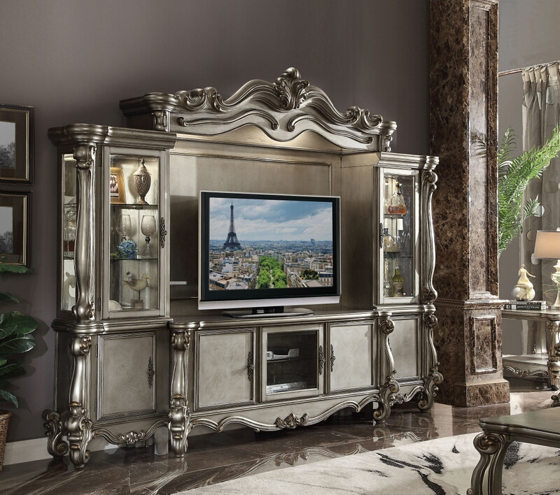 Acme 91820-24 4 pc Astoria grand roza versailles antique platinum finish wood entertainment center wall unit