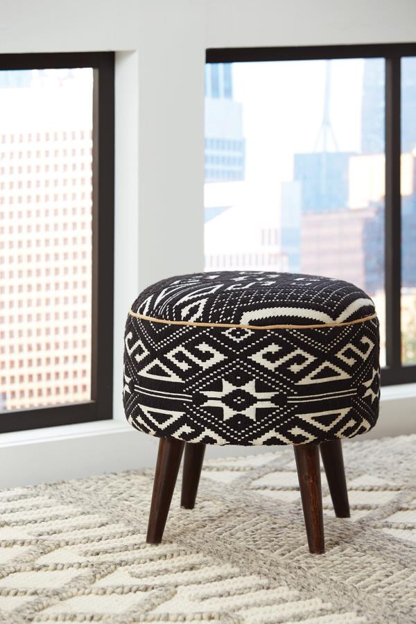 918492 Bungalow rose rojas black/white fabric round bedroom ottoman footstool bench