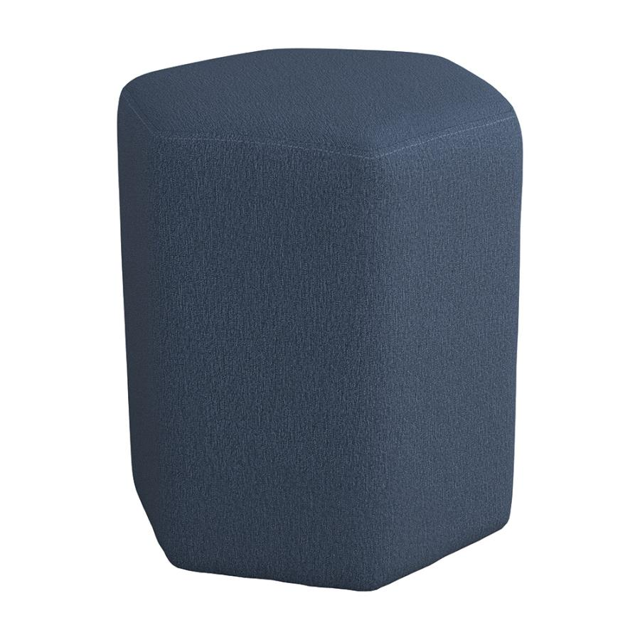 918517 Ebern designs selin blue woven fabric hexagon shaped ottoman stool