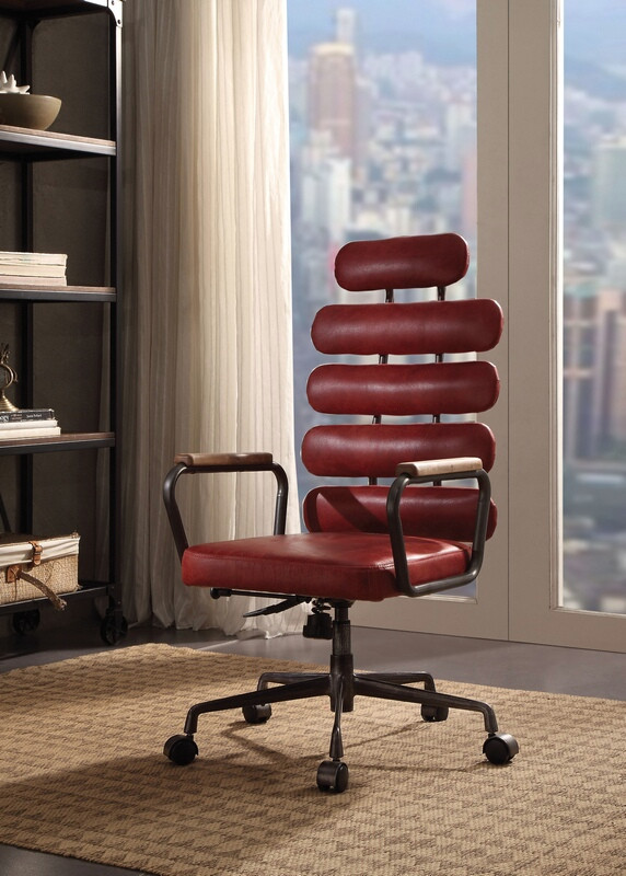 Acme 92109 Corrigan studio ezequiel red top grain leather vintage look high back office chair with casters