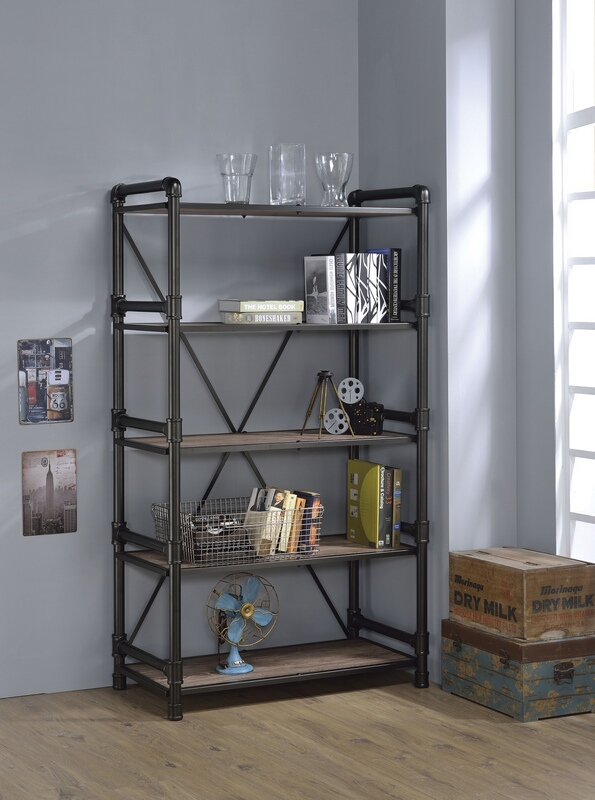 Acme 92220 Caitlin rustic oak finish wood black metal 5 tier book case shelf unit