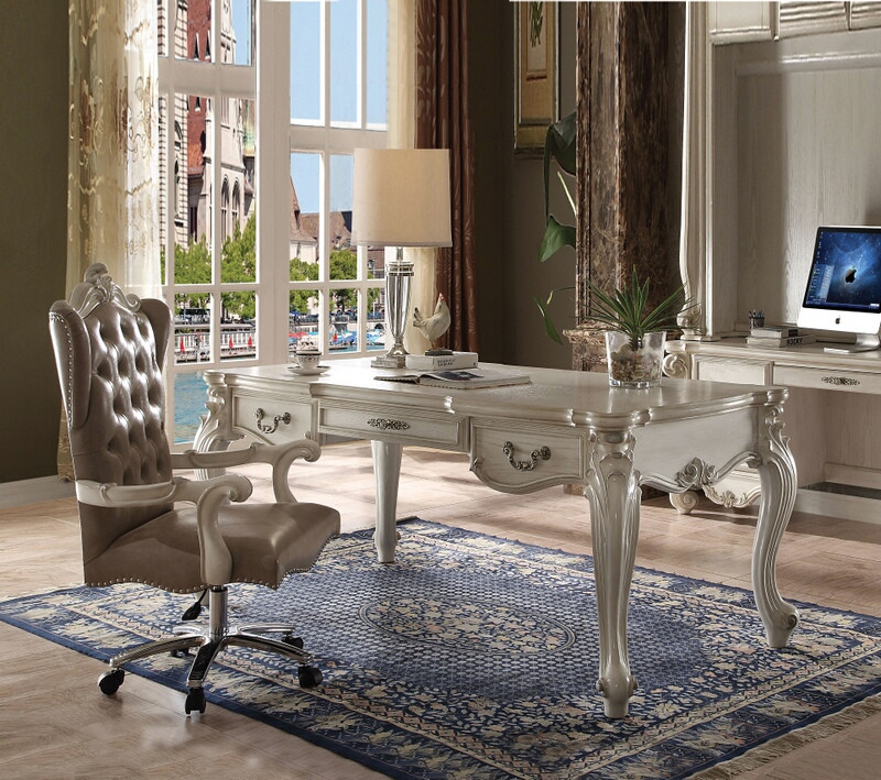 Acme 92275 Versailles bone white finish wood detailed carvings ornate office desk