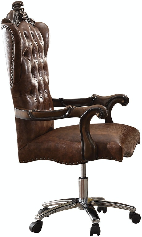Acme 92282 Versailles cherry oak finish wood detailed carvings ornate office chair