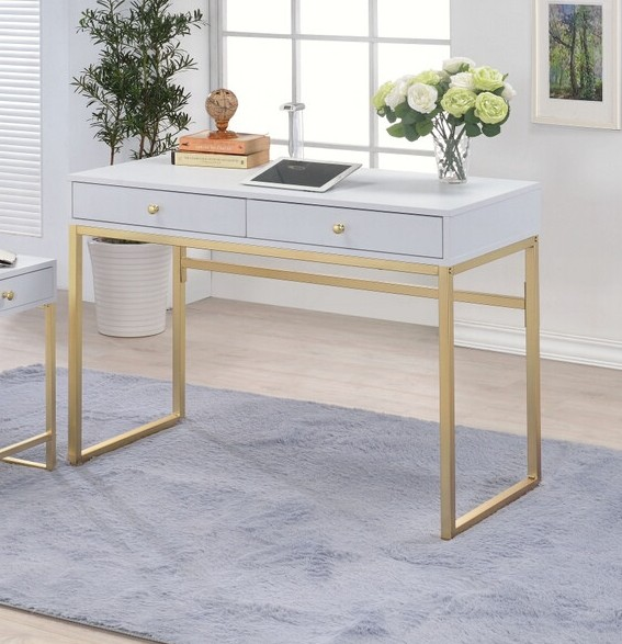 Acme 92312 Mercer 41 ballesteros coleen white finish wood and brass frame desk