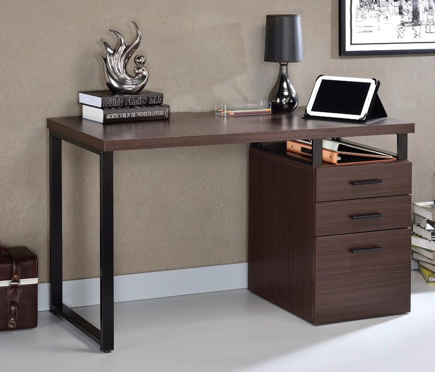Acme 92388 Mercer 41 ballesteros coy dark oak finish wood and black metal frame desk with filing cabinet