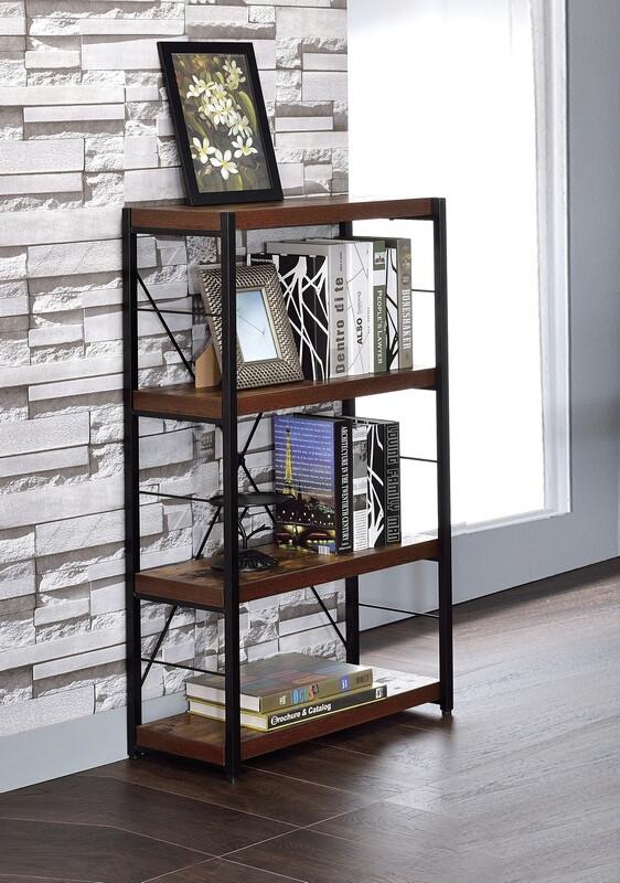 Acme 92399 Bob weathered oak finish wood 4 tier book case shelf unit