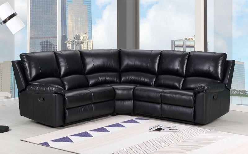 GU-9241BK-3PC 3 pc Latitude run jaidan black leather aire reclining sectional sofa set