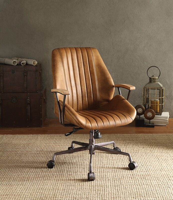 Acme 92412 Hamilton coffee top grain leather office chair with lift and casters