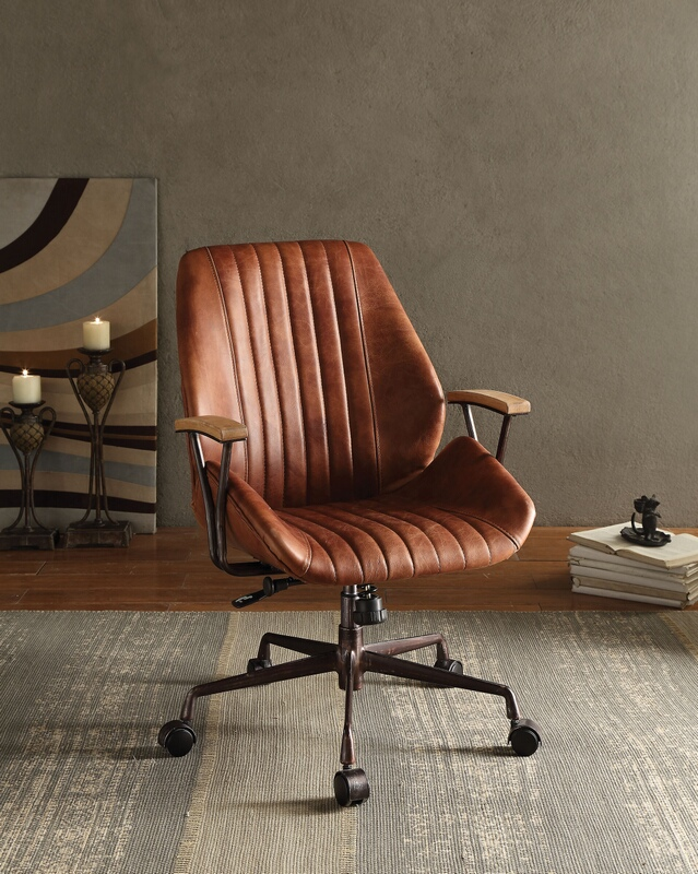 Acme 92413 Hamilton cocoa top grain leather office chair with lift and casters