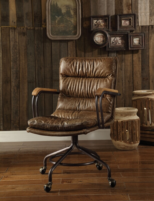 Acme 92416 Harith vintage whiskey top grain leather office chair with casters