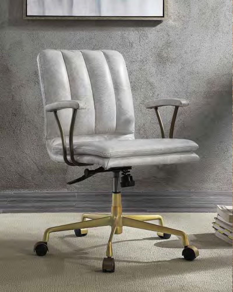Acme 92422 Damir vintage white top grain leather executive office chair with casters