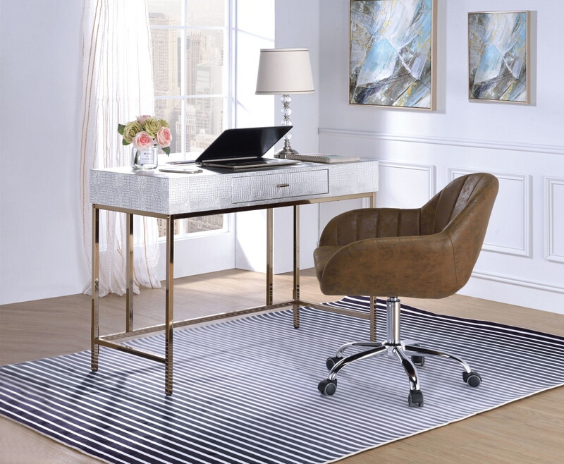 Acme 92425 Everly quinn jeanette piety silver finish faux leather champagne metal frame desk