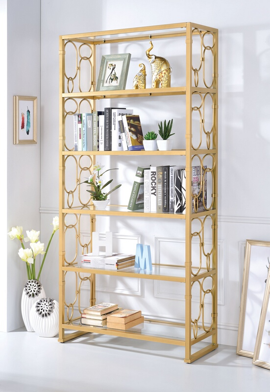 Acme 92470 Milavera clear glass and gold finish metal 6 tier book case shelf unit