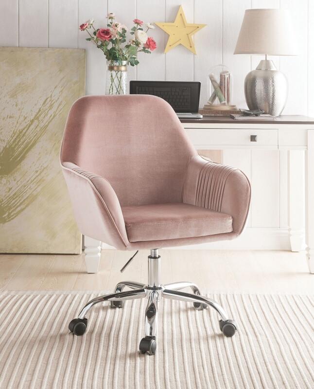 Acme 92504 Eimer peach velvet fabric office chair with casters