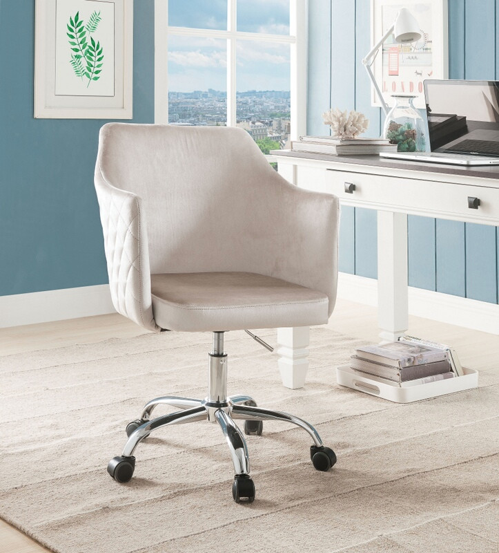Acme 92506 Cosgair champagne velvet fabric office chair with casters