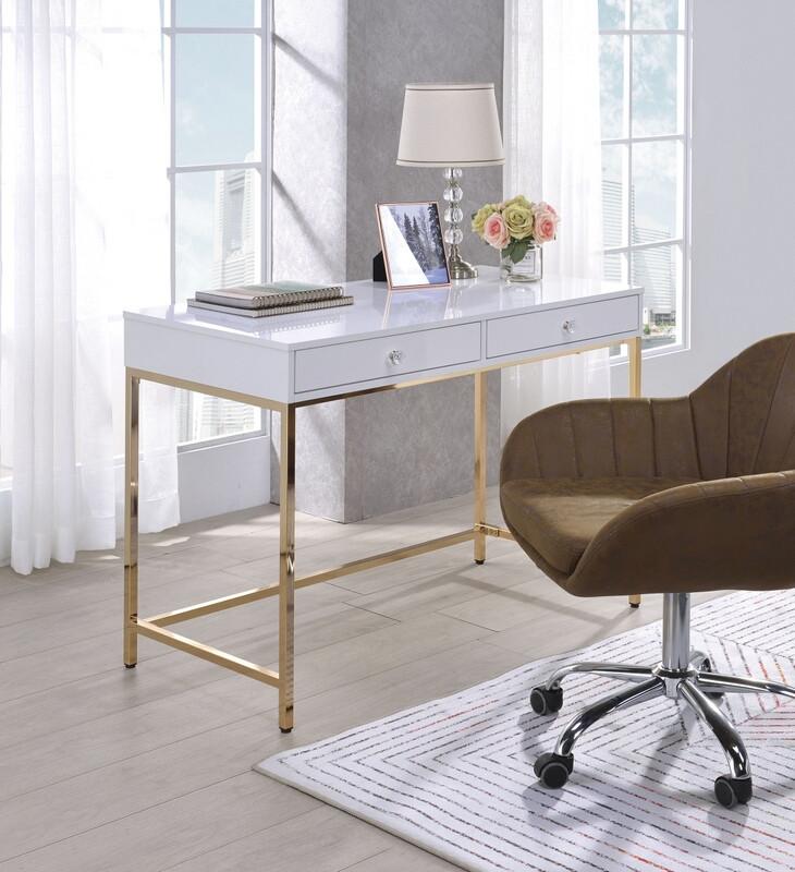 Acme 92540 Mercer 41 spada ottey white high gloss finish wood gold metal frame desk