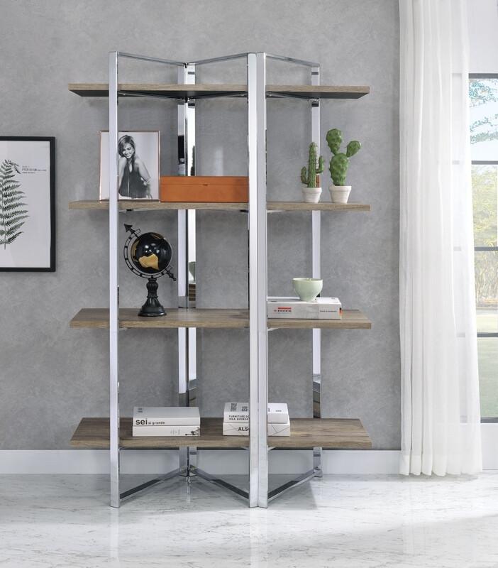 Acme 92545 Libby oak finish wood chrome metal frame 4 tier book shelf