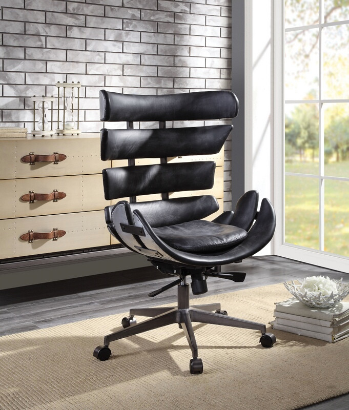 Acme 92552 Megan vintage black top grain leather aluminum executive office chair
