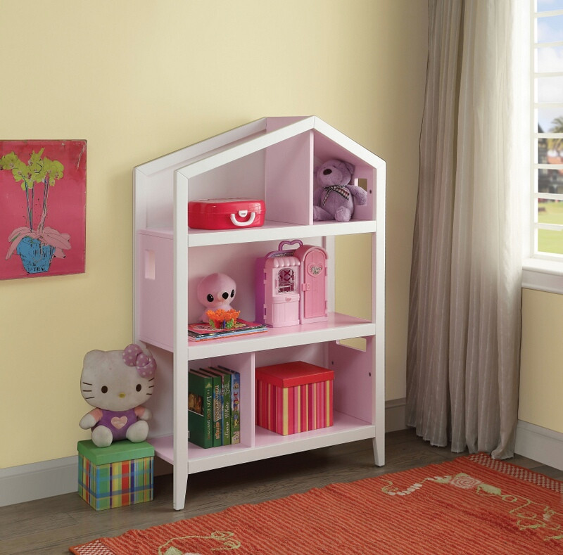 Acme 92560 Zoomie kids burchard doll house cottage white and pink finish wood bookcase