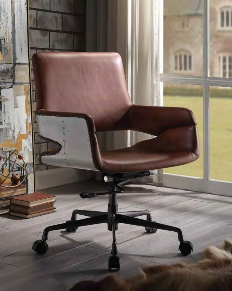 Acme 92567 Kamau vintage cocoa top grain leather and aluminum executive office chair with casters