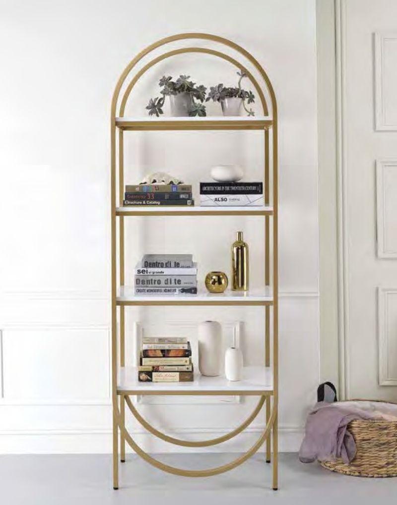 Acme 92662 Latitude run folks lightmane white high glosss gold finish metal 4 tier book case shelf unit