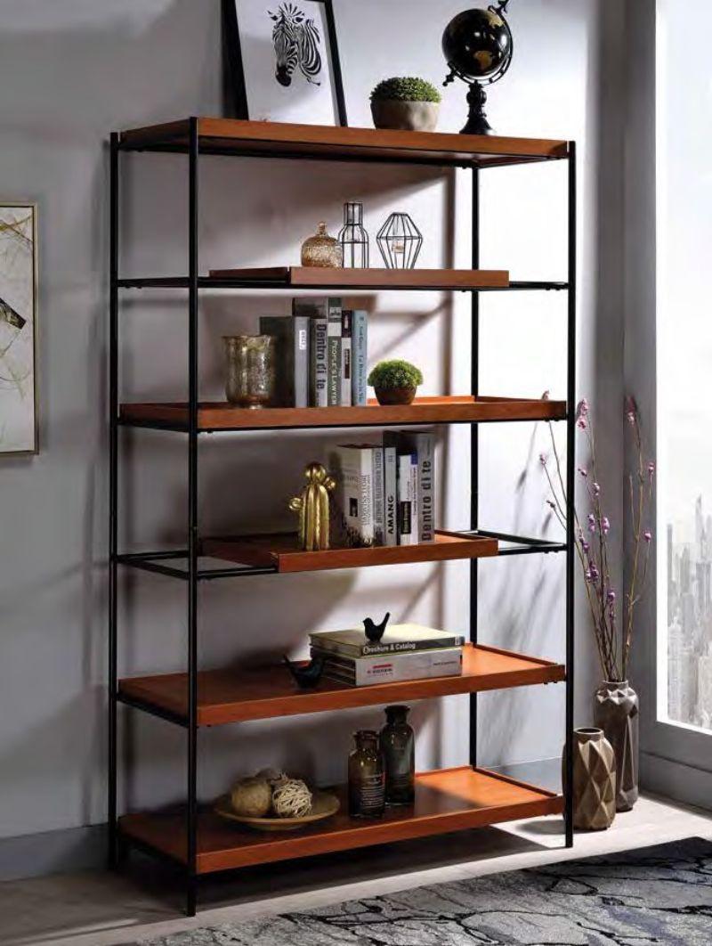 Acme 92677 Oaken honey oak finish wood black metal frame 6 tier book case shelf unit