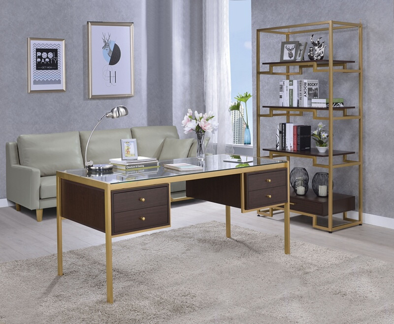 Acme 92785 Everly quinn hyeon yumia clear glass top gold metal finish frame desk