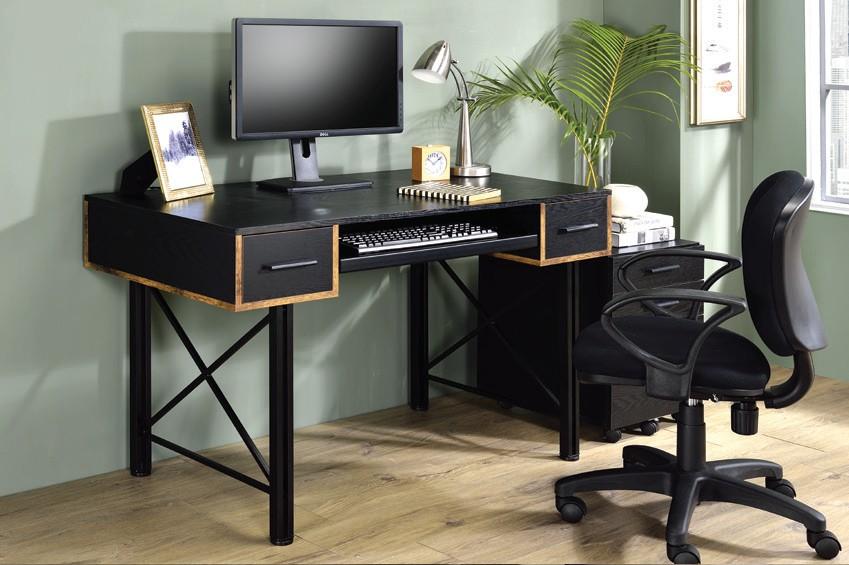 Acme 92799 Mercer 41 ballesteros settea black wood and black metal frame desk