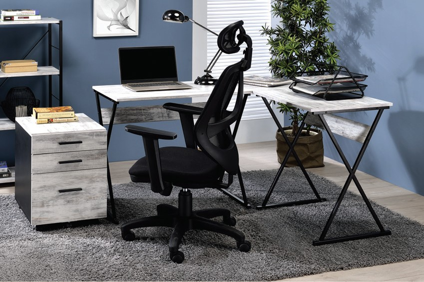 Acme 92812 Mercer 41 ballesteros zafari antique white wood and black metal frame corner desk