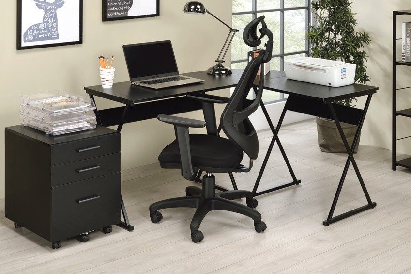 Acme 92814 Mercer 41 ballesteros zafari antique black and black metal frame corner desk