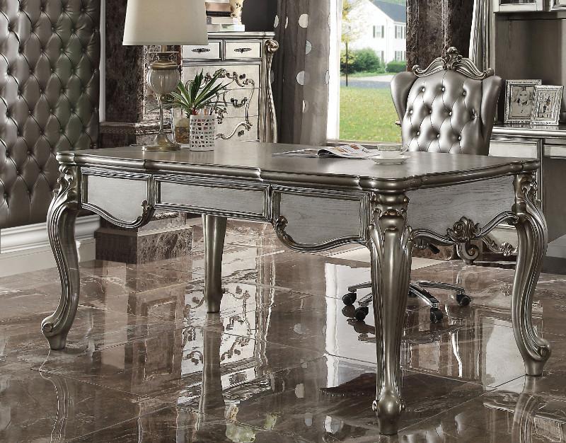 Acme 92820 Versailles antique platinum finish wood detailed carvings ornate office desk