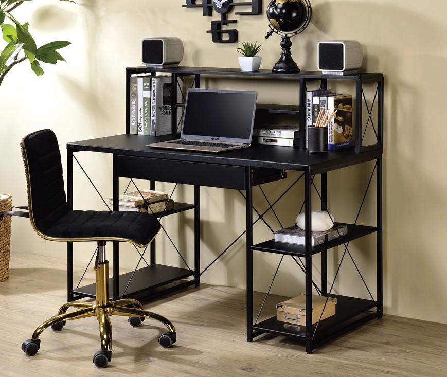 Acme 92877 Mercer 41 ballesteros zaidan black wood and metal frame desk with hutch