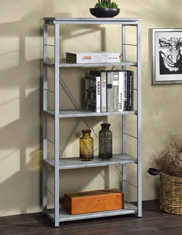 Acme 92907 Jurgen faux concrete silver finish metal 5 tier book case shelf unit