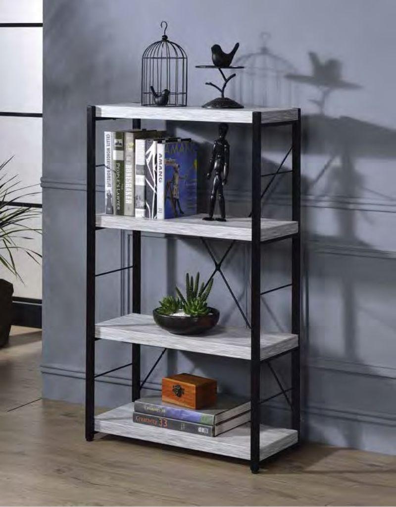 Acme 92917 Jurgen antique white black finish metal 4 tier book case shelf unit