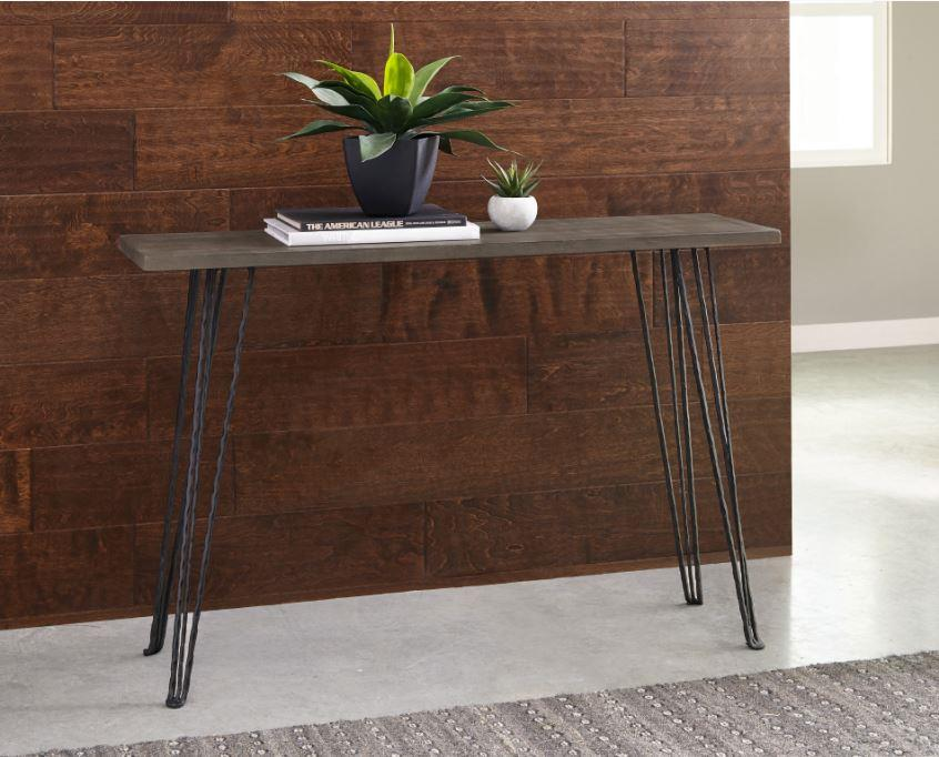 930050 Wildon home concrete finish black hair pin legs hall console entry table