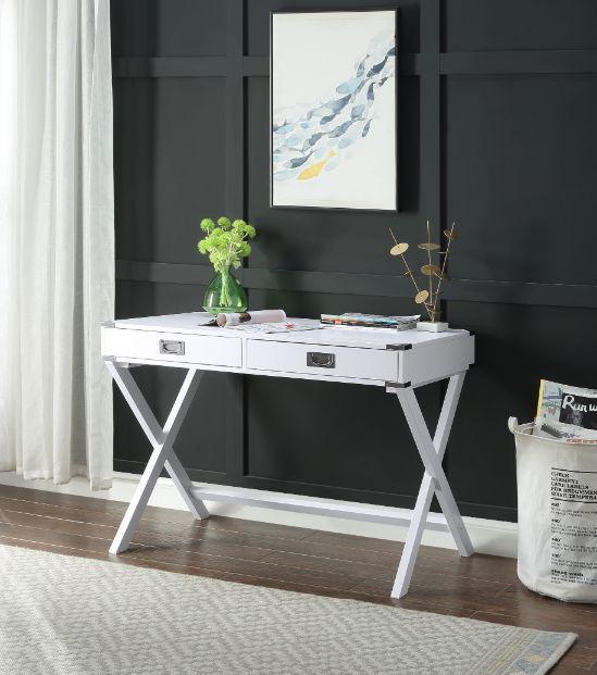 Acme 93005 Mercer 41 ballesteros amenia white finish wood writing student desk with drawers