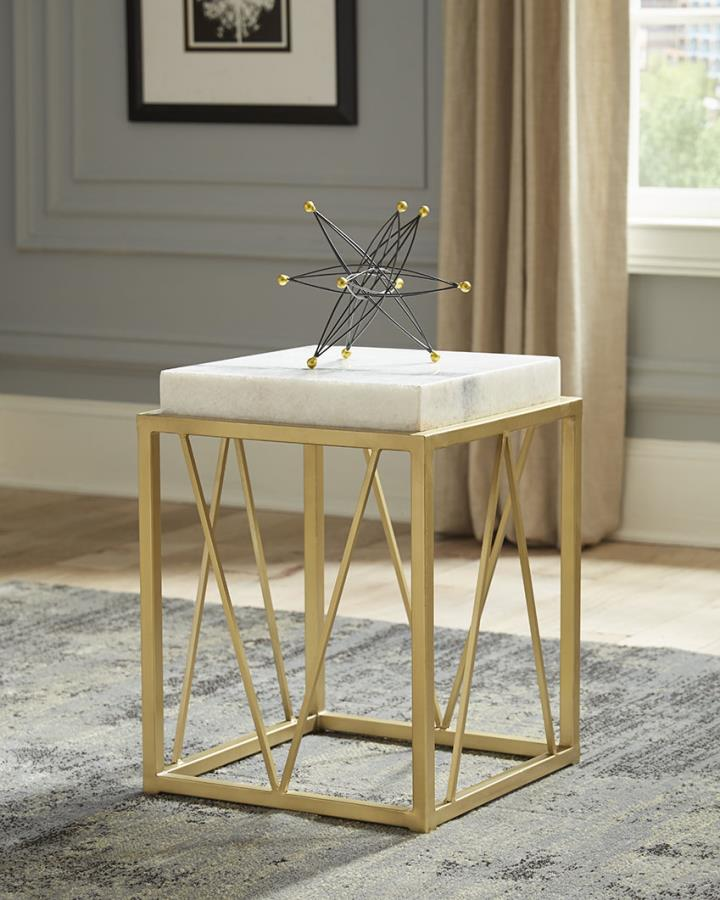 930070 Charlton home pineville white square marble top gold legs chair side end table